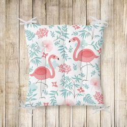 RealHomes Flamingo Desenli Pofidik Kare Sandalye Minderi 40x40cm Düğmeli