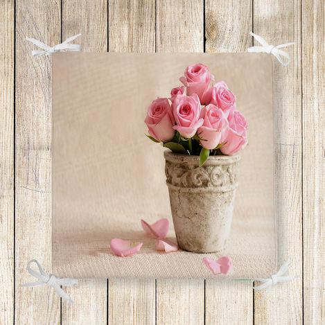 Çiçek Temalı Dekoratif Kare Sandalye Minderi 40x40cm Fermuarlı