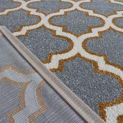 Saray Halı Tuana 031 150x230 cm Karo Desen Gold / Gri Modern Halı