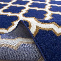 Saray Halı Tuana 031 150x230 cm Karo Desen Lacivert / Gold Modern Halı