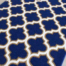 Saray Halı Tuana 031 120x170 cm Karo Desen Lacivert / Gold Modern Halı