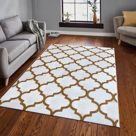 Resim  Saray Halı Tuana 032 120x170 cm Karo Desen Gold Modern Halı
