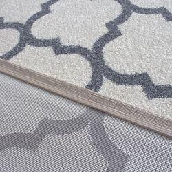 Saray Halı Tuana 032 200x300 cm Karo Desen Gri Modern Halı