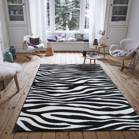 Resim  Saray Halı Tuana 033 120x170 cm Zebra Desenli Siyah Modern Halı