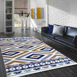 Saray Halı Tuana 034 200x300 cm Etnik Kilim Desenli Gold / Lacivert Modern Halı