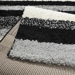 Payidar Gri Siyah Çizgili Shaggy Halı B477NM 80x150 cm