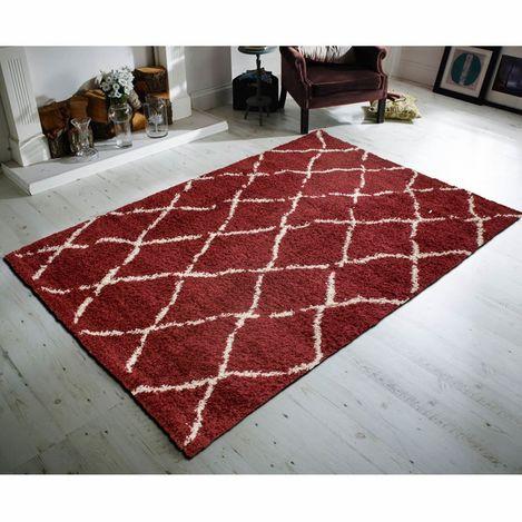 Resim  Payidar Kırmızı Krem Çizgili Shaggy Halı G0276M 80x150 cm