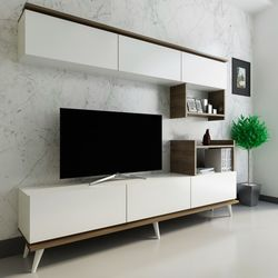 Arnetti Hazal Tv Ünitesi - Beyaz / Ceviz