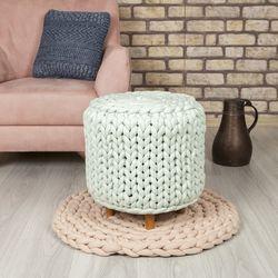Erem Tekstil Pl18001 El Örgü Ayaklı Puf - Mint El