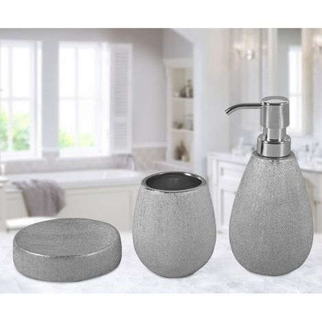 Just Home Simli 3'Lü Banyo Seti - Silver