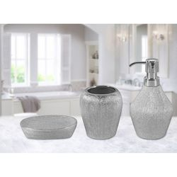 Just Home 02 Simli 3'Lü Banyo Seti - Silver