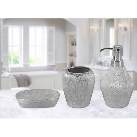 Resim  Just Home 02 Simli 3'Lü Banyo Seti - Silver