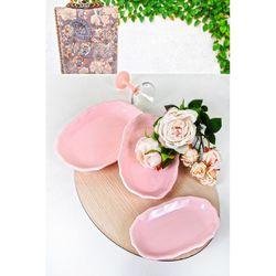 Keramika Çok Amaçlı Kayık Tabak Seti - 3 Parça