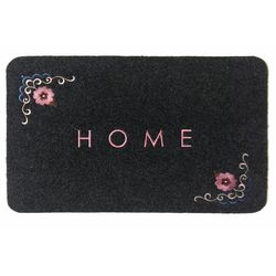 Giz Home Çiçekli Nakışlı Brode Kapı Paspası (Gri) - 40x60 cm