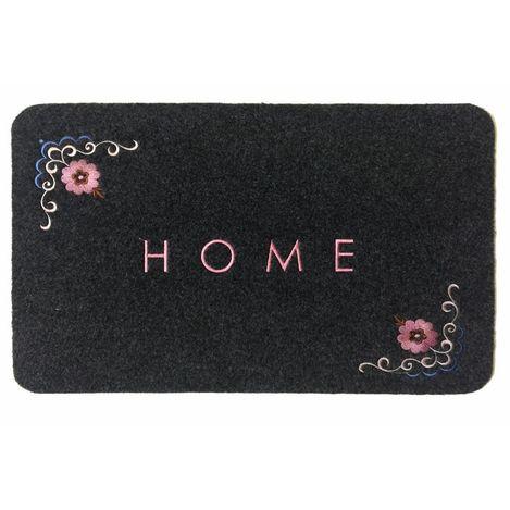 Resim  Giz Home Çiçekli Nakışlı Brode Kapı Paspası (Gri) - 40x60 cm