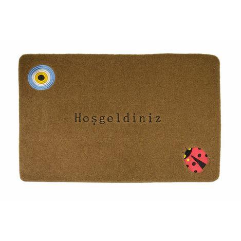 Resim  Giz Home Nazar Boncuğu Nakışlı Brode Kapı Paspası (Kahve) - 40x60 cm