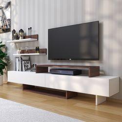 House Line Zenn Tv Ünitesi - Beyaz / Teak