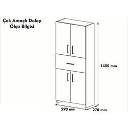 House Line Esma Çok Amaçlı Dolap - Beyaz / İstanbul Cevizi