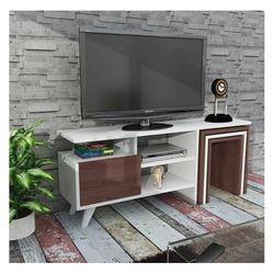 House Line Sarte Tv Sehpası - Beyaz / Ceviz