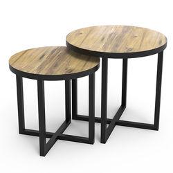 Just Home Trendy Wood 2'li Zigon Sehpa - Siyah/Ahşap