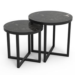 Just Home Trendy 2'li Zigon Sehpa - Siyah/Siyah
