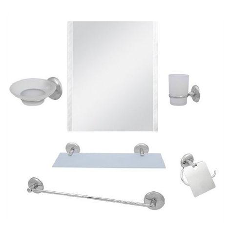 Resim  Alper Banyo 02 6'lı Krom Uzun Havluluklu Kare Aynalı Banyo Seti