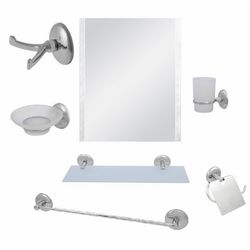 Alper Banyo No:66 7'li Kare Uzun Havluluklu Aynalı Banyo Seti - Krom