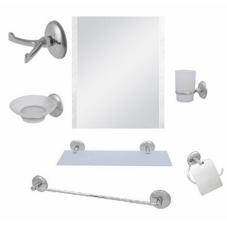 Resim  Alper Banyo No:66 7'li Kare Uzun Havluluklu Aynalı Banyo Seti - Krom