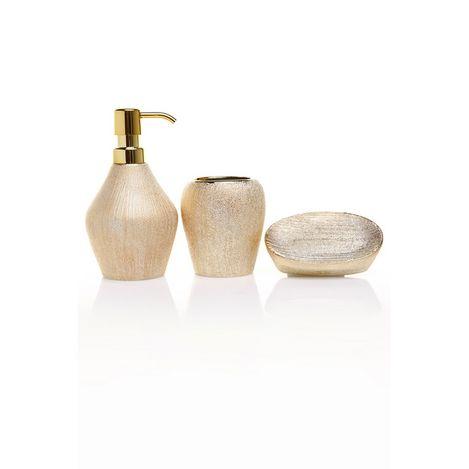 Resim  Just Home Simli 3'Lü Banyo Seti - Gold