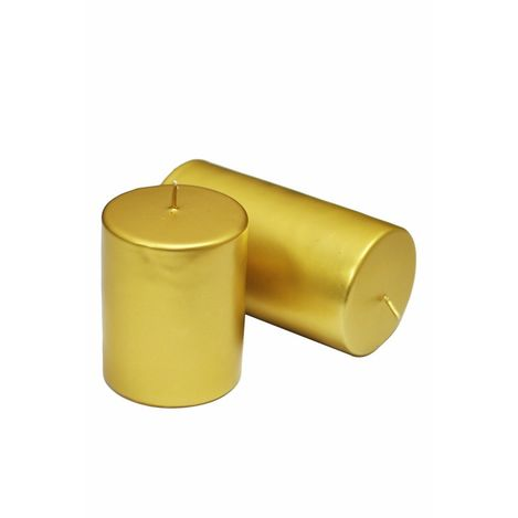 Horizon Varaklı Silindir Mum (Altın) - 6x6 cm