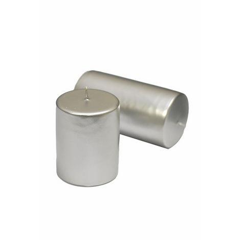 Horizon Varaklı Silindir Mum (Gümüş) - 6x6 cm