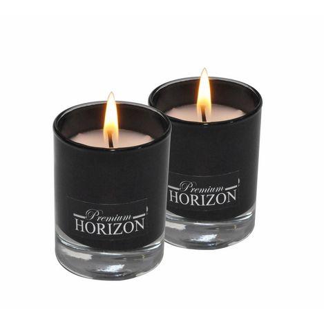 Horizon 2'li Bardak Silindir Mum (Siyah) - 4.5x6 cm