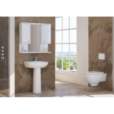 Resim  Just Home Vira Üst Modül Aynalı Banyo Dolabı