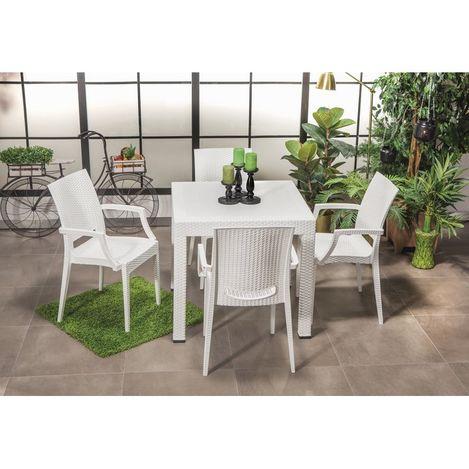 Mobetto Rattan Masa Seti Lüks Sandalye – Beyaz