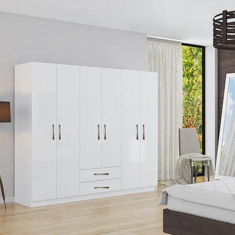 Resim  House Line Diva 6 Kapak 2 Çekmeceli Gardırop - Beyaz