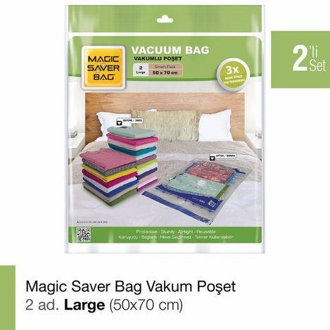 Magic Saver Bag 2'li Large Vakumlu Poşet Seti