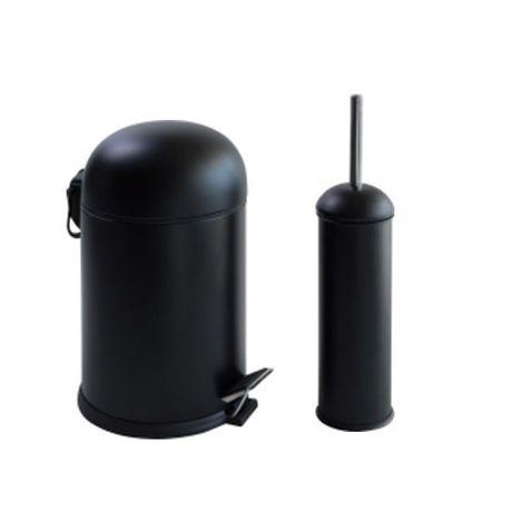 Dibanyo Bon Pedallı Çöp Kovası + Wc Klozet Fırçası Set - Siyah