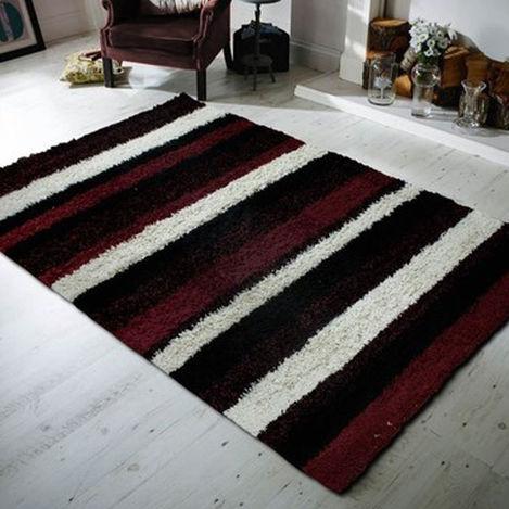Payidar Shaggy B477NM Çizgili Halı (Kırmızı / Siyah) - 120x180 cm
