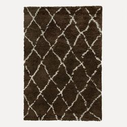 Payidar Kahverengi Krem Çizgili Shaggy Halı G0276M 80x150 cm
