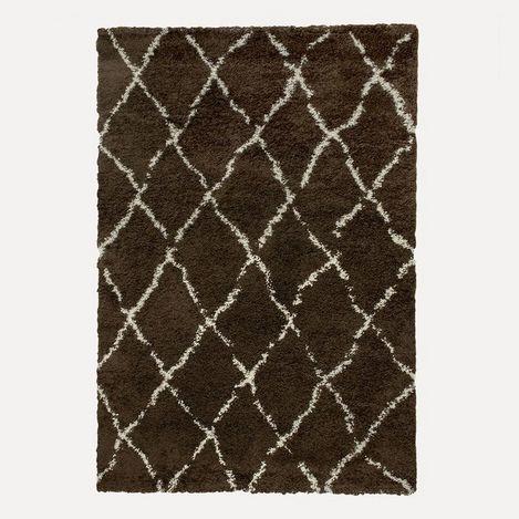 Resim  Payidar Kahverengi Krem Çizgili Shaggy Halı G0276M 80x150 cm
