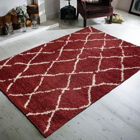 Resim  Payidar Kırmızı Krem Çizgili Shaggy Halı G0276M 200x290 cm