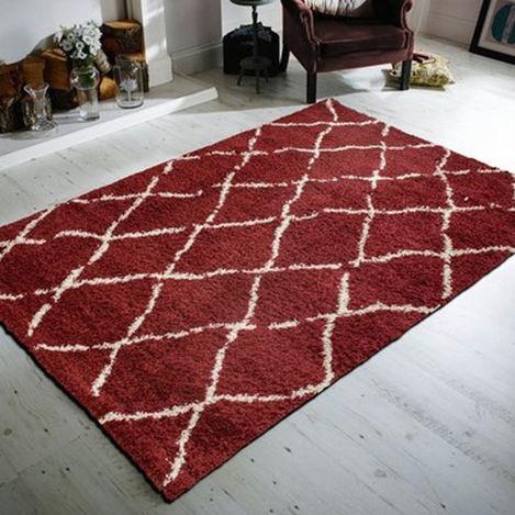 Resim  Payidar Shaggy G0276M Çizgili Halı (Kırmızı / Krem) - 120x180 cm