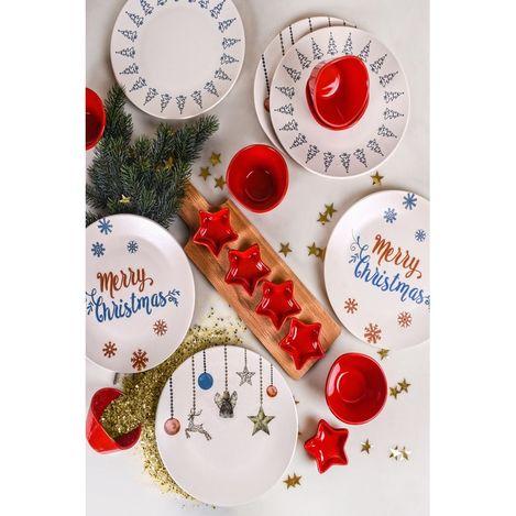 Keramika 19 Parça 6 Kişilik Yılbaşı Seti - Merry Christmas