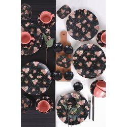 Keramika 31 Parça 6 Kişilik Siyah Çiçek Kahvaltı Seti
