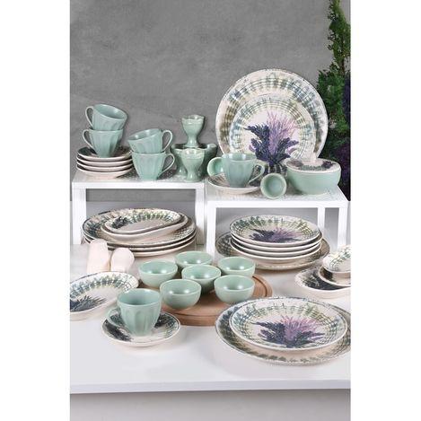 Keramika 6 Kişilik 47 Parça Lavanta Badem Kahvaltı Takımı