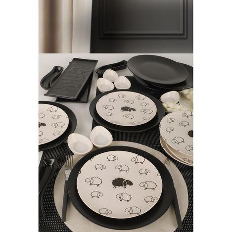 Keramika 23 Parça 6 Kişilik Kahvaltı Takımı - Siyah Kuzu
