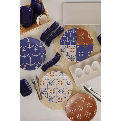 Keramika 21 Parça 4 Kişilik Kahvaltı Takımı - Kobalt Marin