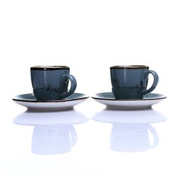 Tulu Reactive Porselen 2'li Kahve Fincan Seti - Turkuaz