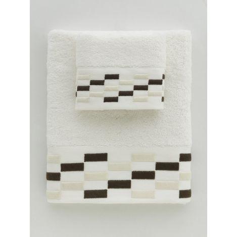 Resim  Towello Brick Nakışlı Havlu (Krem) - 50x90 cm