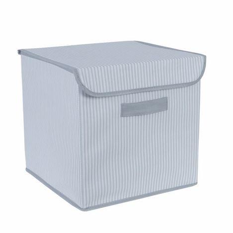 Ocean Home Çizgi Desenli Kapaklı Kutu (Gri) - 30x30x30 cm